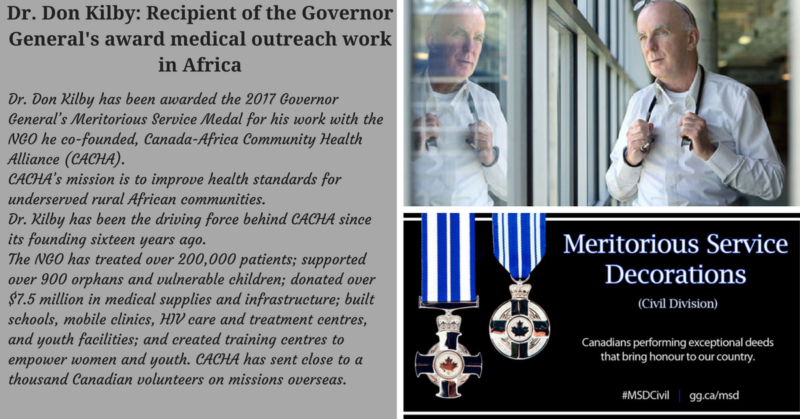 CACHA Founder Dr. Don Kilby Receives Governor-General's Award
